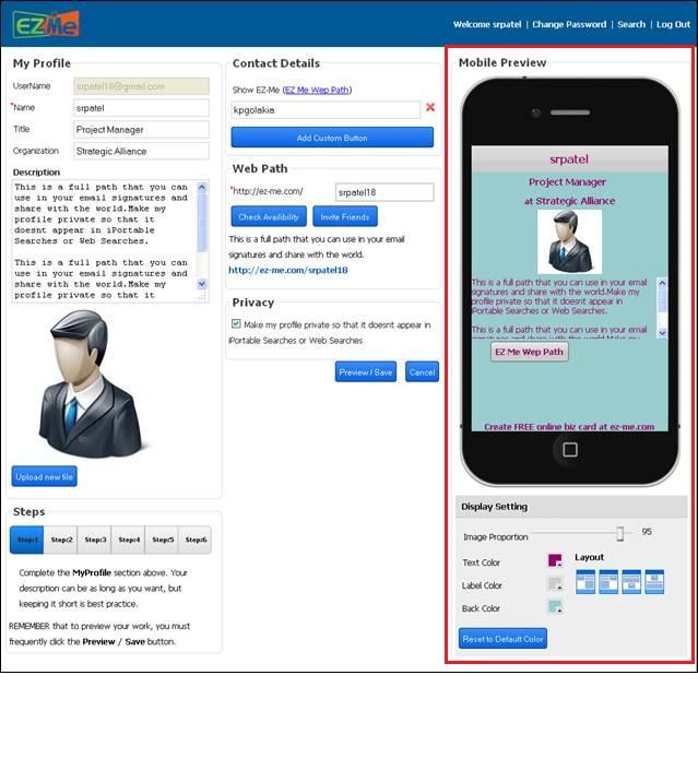Profile Display Settings
